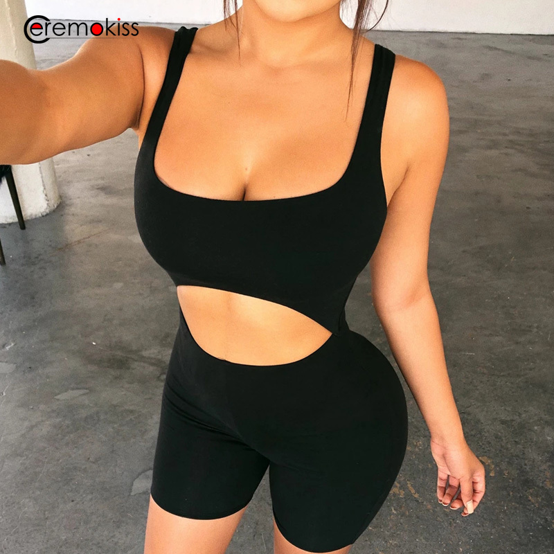 Ceremokiss Summer Sexy Women Playsuit Romper Hollow Out Backless Spaghetti Strap Bodycon Jumpsuit Sleeveless Club Party Playsuit