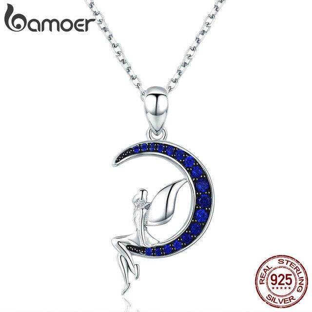 BAMOER ขายร้อน 100% 925 เงินสเตอร์ลิง Lucky Fairy Blue Moon จี้สร้อยคอเงินผู้หญิงเครื่องประดับของขวัญ SCN244