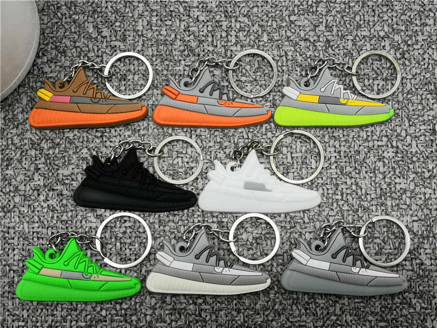 Mini Silicone BOOST 350 V2 Shoes Keychain Bag Charm Woman Men Kids Key Ring Car Key Holder Gift SPLY-350 Chic Sneaker Keychain