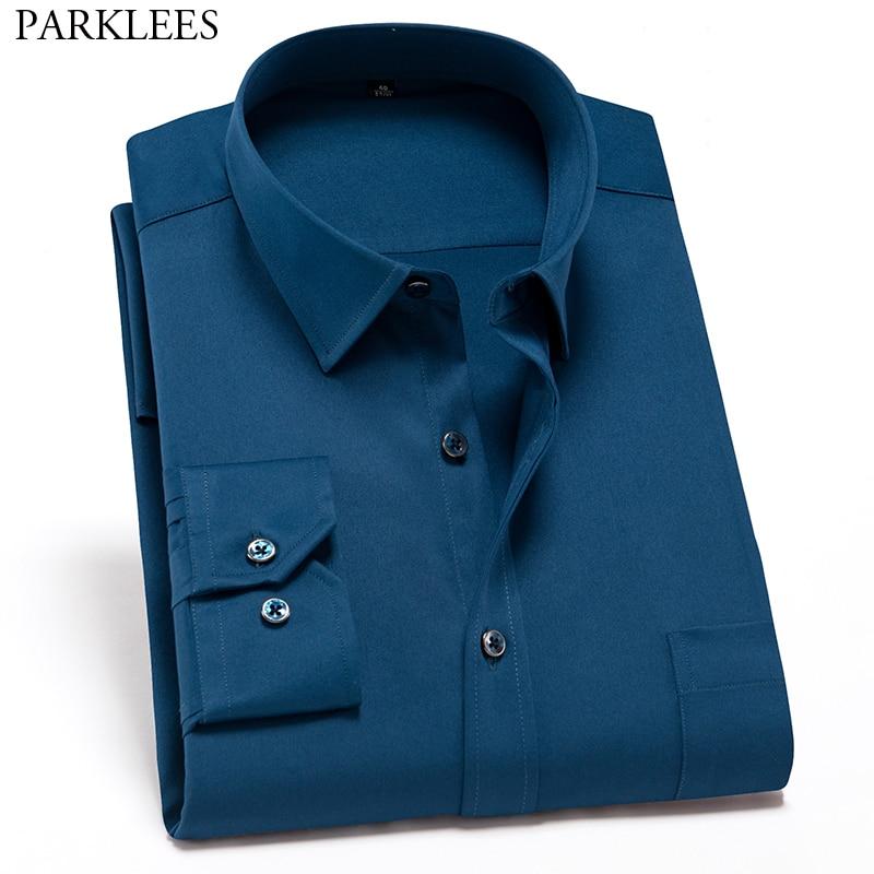 Mens Slim Fit Bamboo Fiber Dress Shirts 2019 Brand New Long Sleeve Business Shirts Basic Designed Elastic Formal Working Shirt