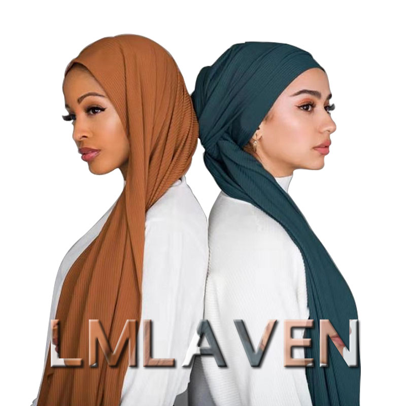 Muslim Jersey Hijab Stretchy Cotton Scarf Ribbed Shawl Plain Wrinkle Scarves High Quality Headscarves  180*85cm
