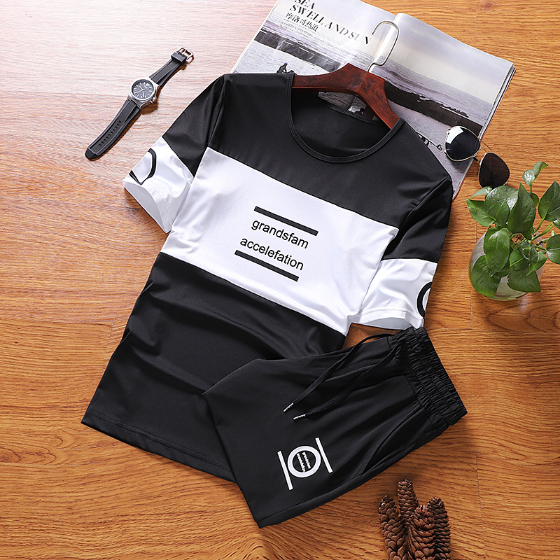 Short Sleeve T-shirt MEN'S Suit Korean-style Trend Men'S Wear 2018 New Style Fashion Man Casual Summer A Set Of Clothes Summer W