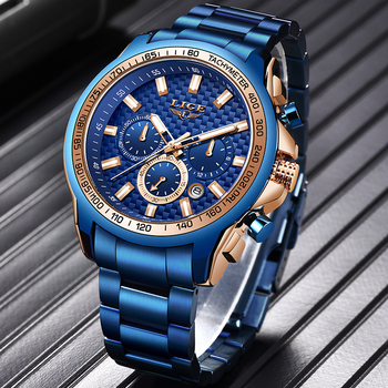 LIGE 2020 New Fashion Blue Watch,Mens Watches Top Brand Luxury Clock Man Military Chronograph Quartz Watch Men Relogio Masculino - discount item  90% OFF Men's Watches