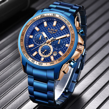 LIGE 2020 New Fashion Blue Watch,Mens Watches