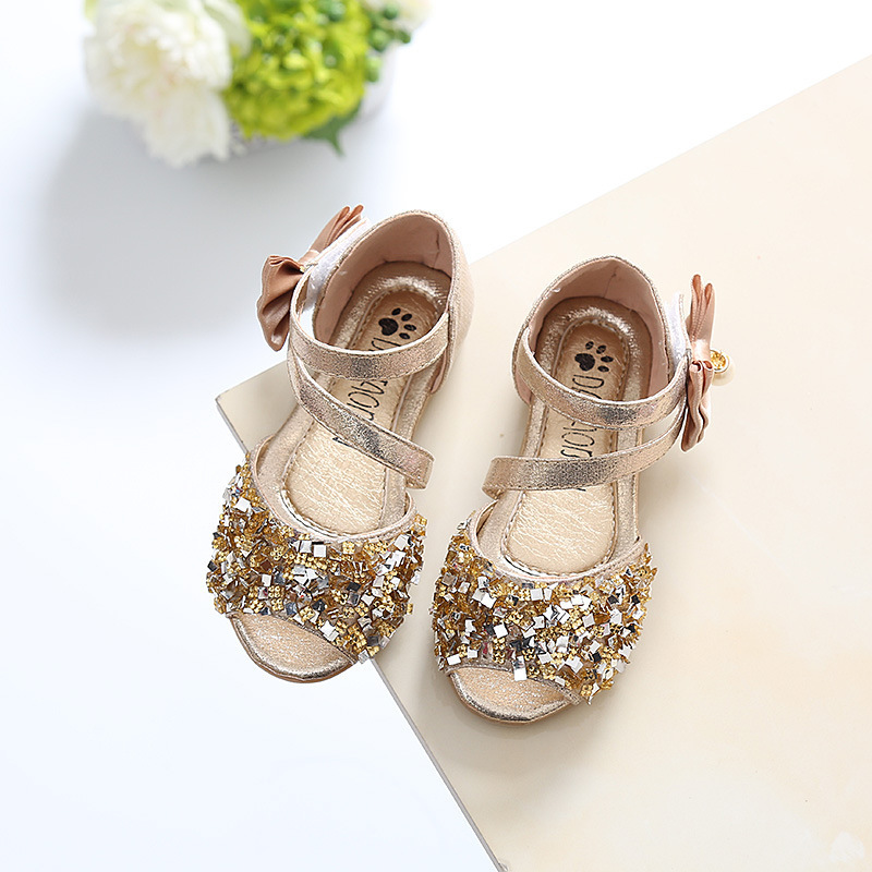 ULKNN Summer 2020 Baby Sandals Girls Princess Shoes Fish Mouth GIRL'S Sandals With Breathable Soft Bottom Child Dance Shoes