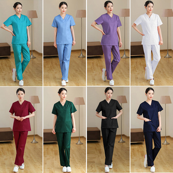 MSORMOSIA new Beauty Salon Care Workwear Set Short Sleeve Uniform Top Pants Set Oral Health Lab Workwear Clothes Care Scrubs