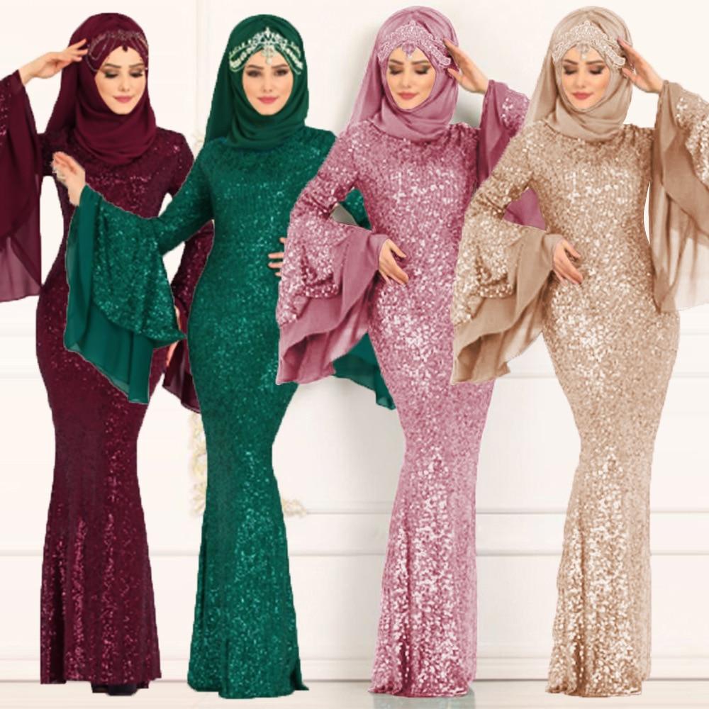 BacklakeGirls Muslim Islamism Double Layer Long Trumpet Sleeve Sequined Plus Size Mermaid Evening Dress Robe Longue Soiree