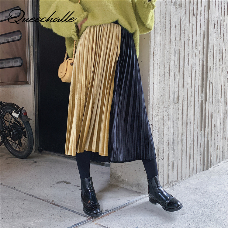 Velour Skirts For Woman Autumn Elegant Empire Waist Loose A-line Pleated Skirt Women Vintage Patchwork Casual Skirts Maxi