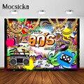 Mocsicka 80s Partei Hintergrund Retro Graffiti Wand 80er Hüfte Hop Geburtstag Party Dekorationen Fotografie Hintergrund Photobooth Banner