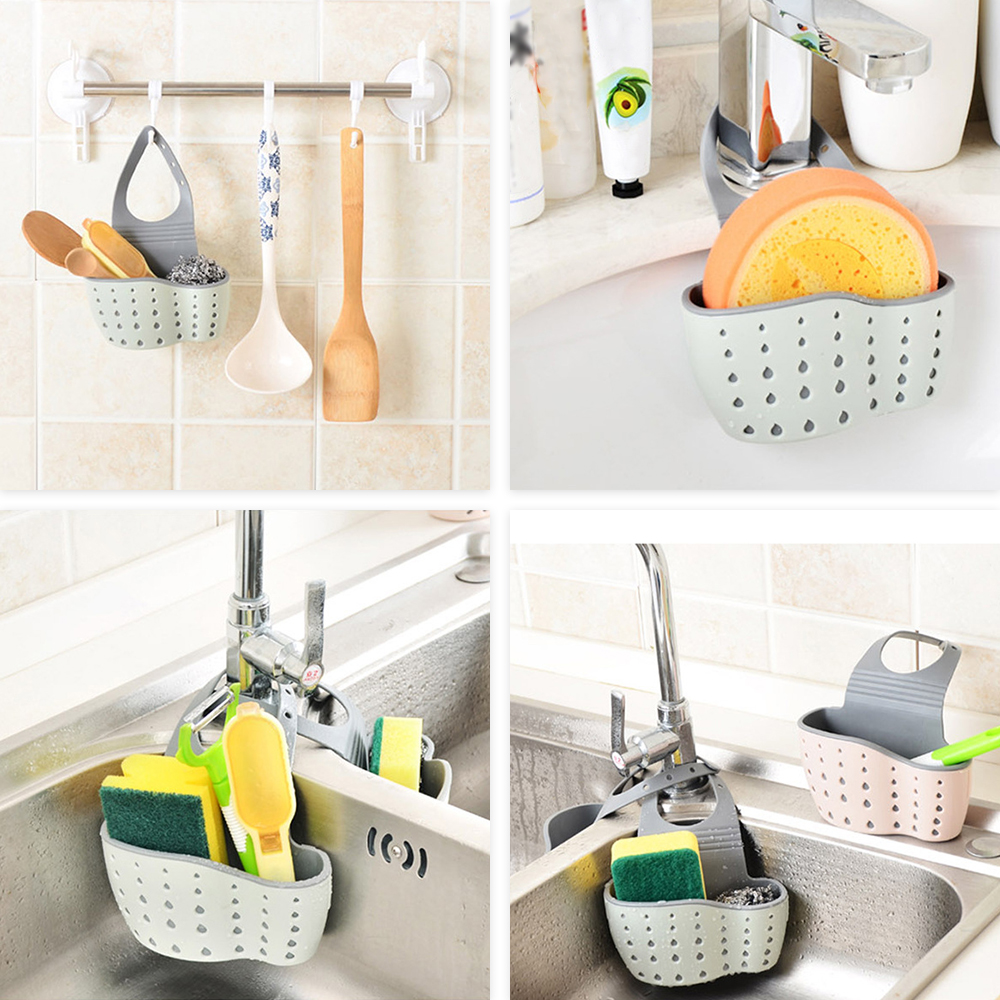 Kitchen Sink Shelf Soap Sponge Drain Rack Bathroom Holder Kitchen Storage Suction Cup Kitchen Organizer Sink kitchen Accessories