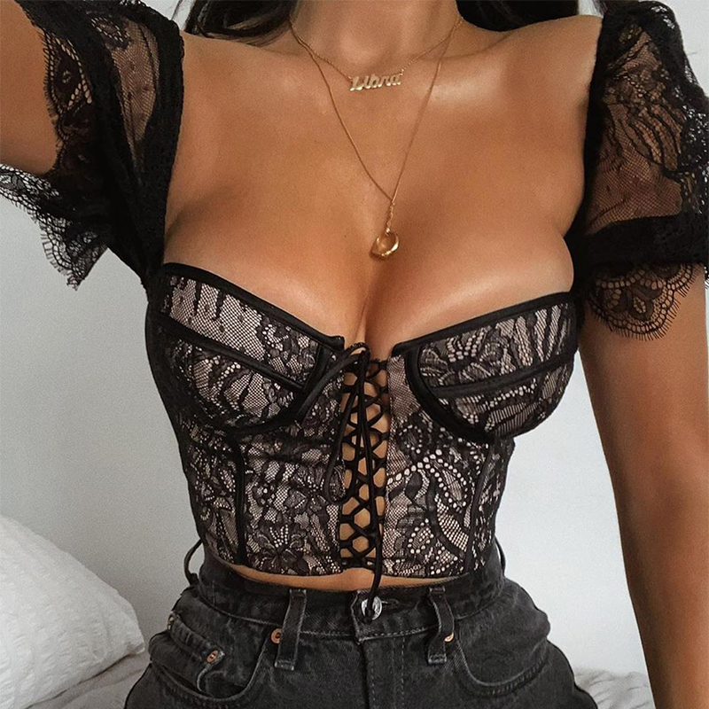 Lace Corset Blouses Top Crop-Top Stretch Billowy-Sleeve Embroidered See-Through Underwire