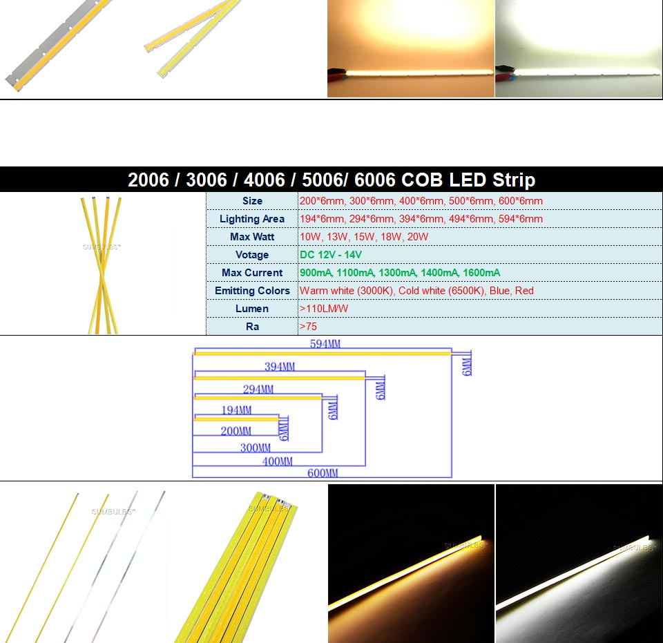 DC12V COB LED Strip Light Source 5W 10W 20W 50W 200W 300W LED Bulb White Blue Red Flip Chip COB Lamp DIY House Car Lighting 12V (14)