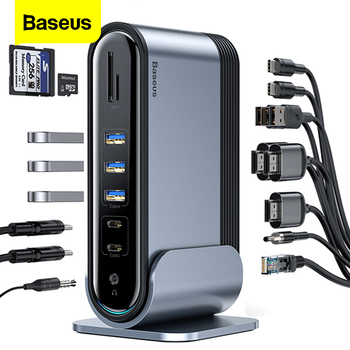 Baseus 17 in 1 USB C HUB Type C to Multi HDMI RJ45 VGA USB 3.0 PD Power Adapter Docking Station for MacBook Pro Laptop USB-C Hub orico aluminum hub type c to type a type c hdmi converter support pd multi function laptop station for macbook pc