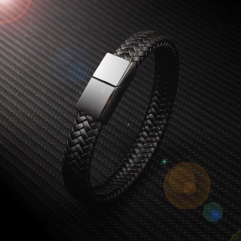 Bracelets breloques pour hommes, Punk, 16 brins, noir et marron, en cuir tressé, acier inoxydable, fermoir magnétique, bijoux pour femmes 2