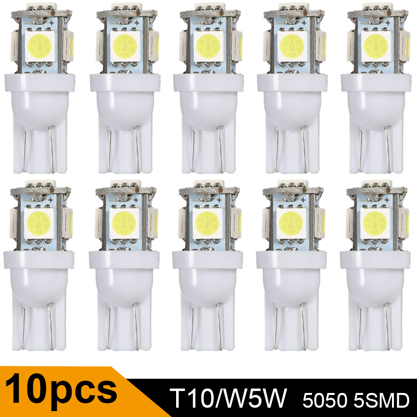 10Pcs Car LED T10 W5W 5050 5SMD Reading Dome Lamp 168 194 192 DC 12V License Plate Bulbs Marker Light Wedge Lights White Red