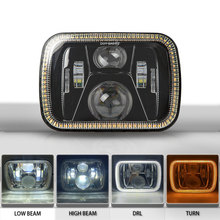 цена на 5x7 LED Headlight with DRL Square 6x7 Truck Headlamp For Je-ep 1984 to 2001 XJ Cherokee 1987 to 1995 YJ Wr-angler