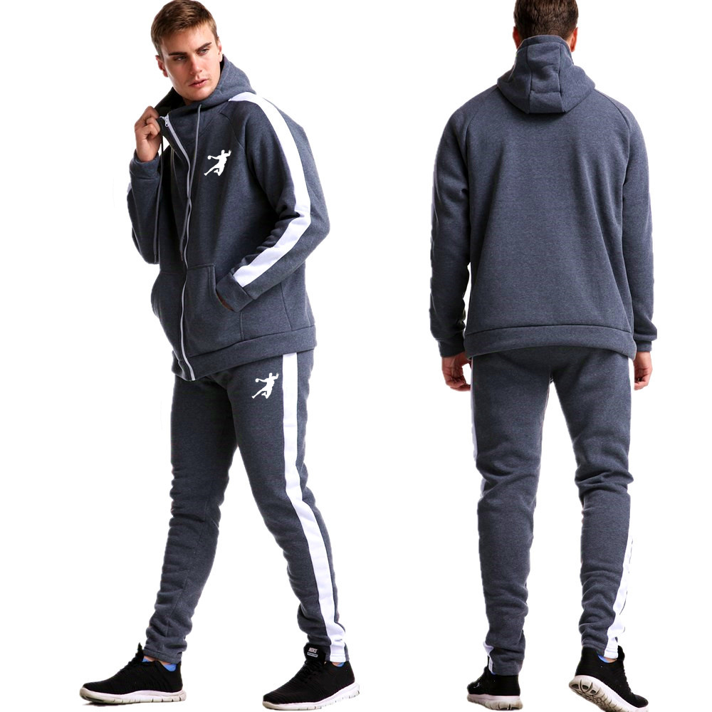 Trend Brand Causal Tracksuits Men Set Hooded Thicken Fleece Hoodies + Sweatpant 2020 Winter Spring Sweatshirt Sportswear Male