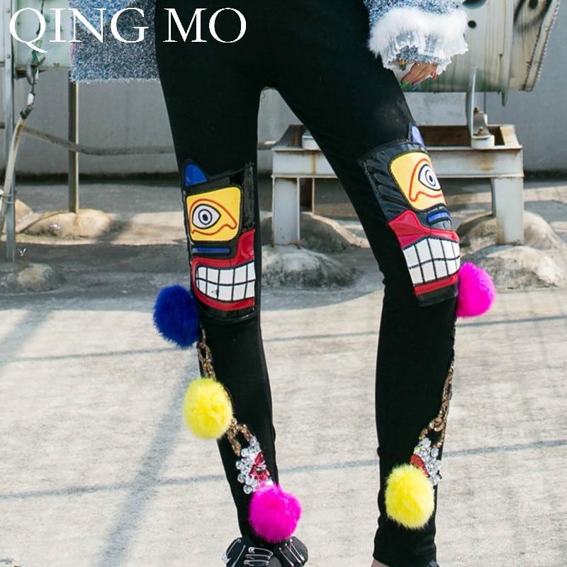 QING MO Fashion Brand Cartoon Women Pants With Sequin Autumn Winter Women High Waist Full Length Pants 2019 ZQY1511