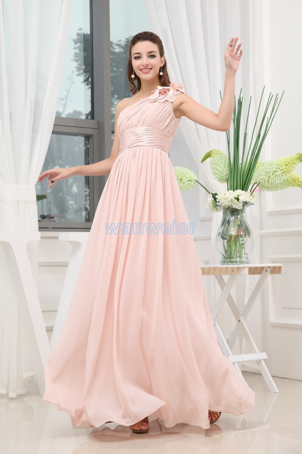 Free Shipping 2016 New Design Formal One-shoulder Vestidos Formales Maxi Dresses Long Brides Maid Dress Pink Bridesmaid Dresses