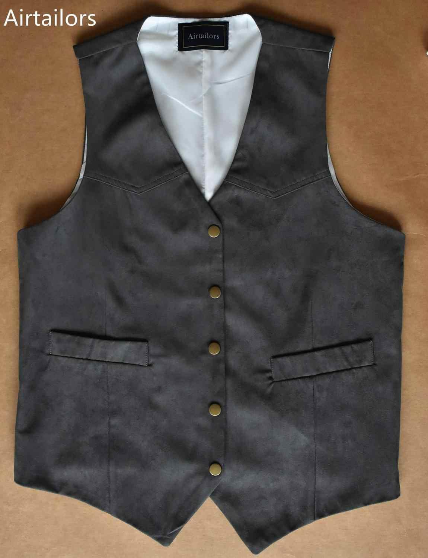 2019 Airtailors Grijs Suède Vest Reliëf Snap Westerse Pak Vest Heren Cowboy vest voor Rustieke Bruiloft Vest Plus Size