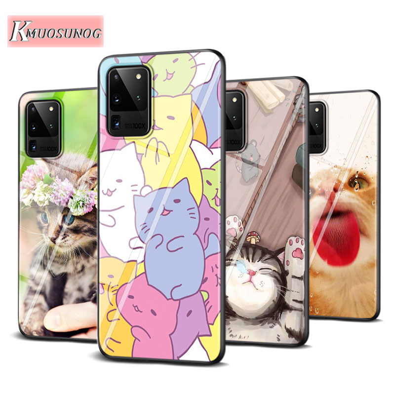 Sleeping Cat  Fashion for Samsung Galaxy Note 10 Lite S20Ultra S20 Plus A01 A21 A51 A71 A81 A91 Super Bright Phone Case