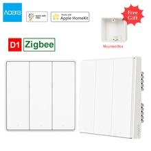 Aqara Interruptor de luz de pared inteligente D1 Zigbee, Control remoto inalámbrico por WiFi, con/sin trabajo neutro para Mi home, Apple y Homekit