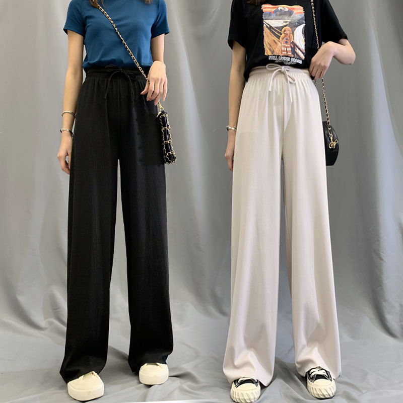zora woman high waist ice silk wide-leg pants drape loose summer casual straight pants joggers women sweatpants oversize summer