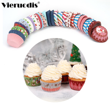 100PCS Muffin Cupcake Paper Cups Christmas Cake Bakeware Lining Party Tray Mold Decorating Tools Food Grade Soy Ink