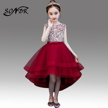 цена на Sequin Flower Girl Dress HT056 Burgundy High Low Length Little Girls Pageant Dresses Crystal Beading Tulle Floweral Dresses