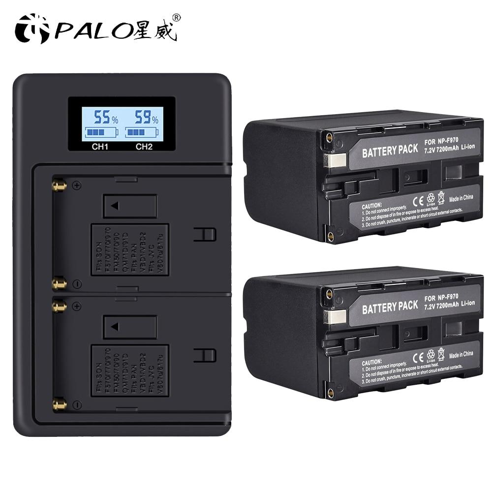 Bateria de Exibição Energia para Sony Duplo + 2 Carregador Pçs 7200 Mah Np-f970 np F930 F950 F770 F570 Ccd-rv100 Np-f960 Npf960 – F970 Lcd