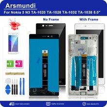 """Dla Nokia 3 N3 TA 1020 TA 1028 TA 1032 TA 1038 5.0 """"wyświetlacz LCD z ekranem dotykowym Digitizer + ramka do monitorów Nokia3 + prezent"""