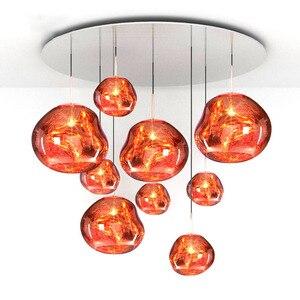 Современный светодиодный подвесной светильник из стекла, лава, золотой, серебряный, красный, простой подвесной светильник для гостиной, под...