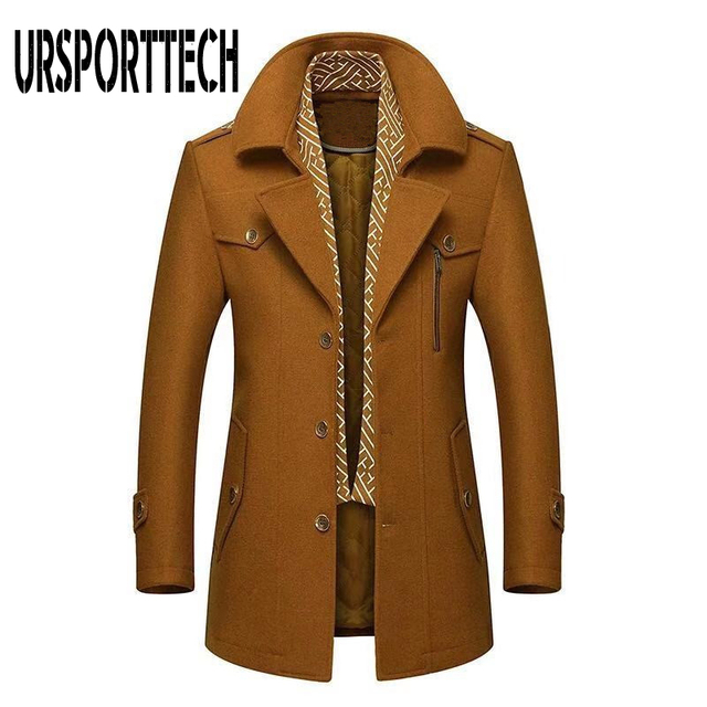 Winter Men's Wool Coat 2020 New Fashion Middle Long Scarf Collar Cotton-padded Thick Warm Woolen Coat Male Trench Coat Overcoat 5