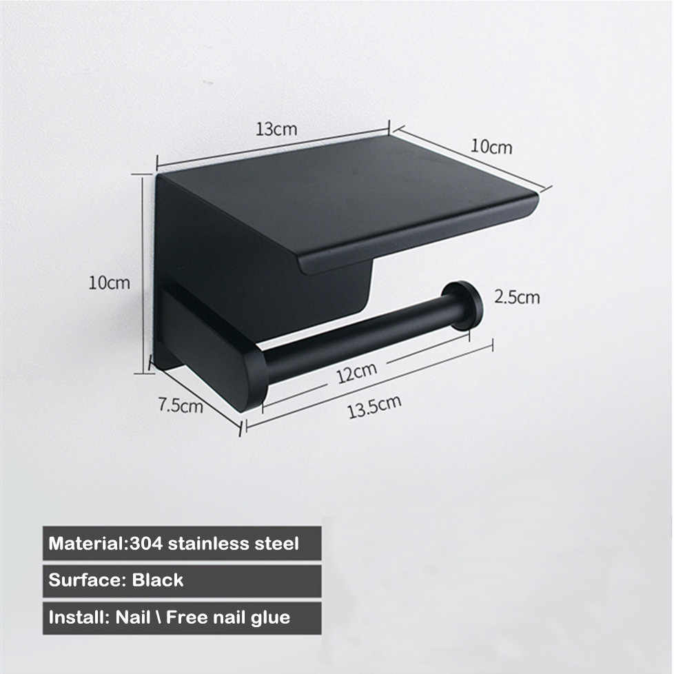 Czarny uchwyt na papier z półka wc uchwyt ścienny do łazienki telefon papieru tkanki wieszak na ręczniki, 304 rolki ze stali nierdzewnej stojak na papier kreatywny