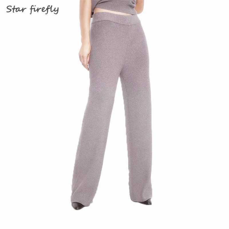 Star Firefly Vintage Wide Leg Pants Women2019 Elastic Waist High Waist Knitted Gray Casual Trousers Long Loose Pants