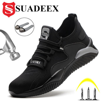 SUADEEX Mens Steel Toe Safety Shoes Work Shoes For Men Lightweight Breathable Anti-Smashing Non-Slip Construction Work Sneakers lightweight breathable men safety shoes steel toe work shoes for men anti smashing construction sneaker