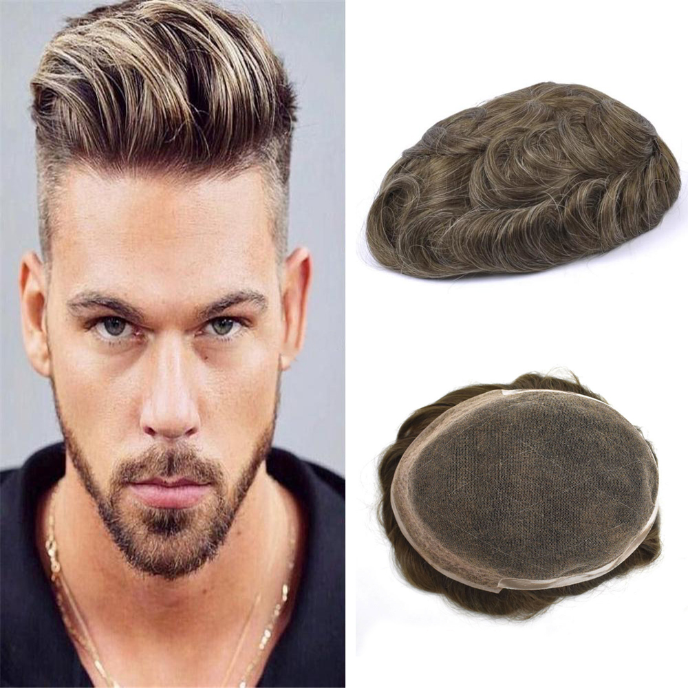 BYMC Indian Remy Hair Replacement System Mens Toupee French Lace With PU Wig Human Hairpieces Toupee For Men