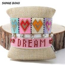 $2020 novo coração do arco-íris boho pulseira para mulheres miyuki carta bom $ drem pulseiras personalizadas pulseras esmalte jóias