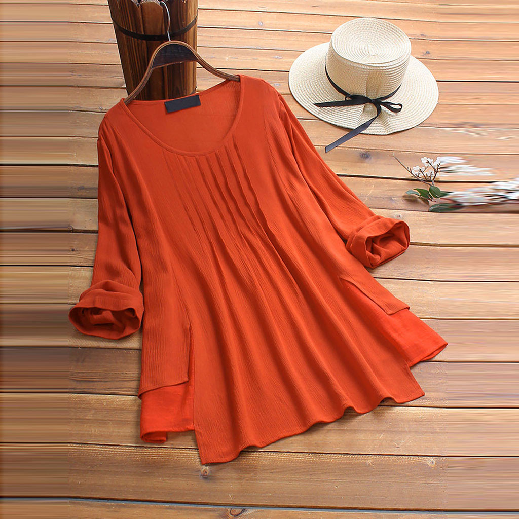 Loose Plus Size Womens Tops And Blouses Ladies Long Sleeve Solid Color O Neck Long Sleeve Shirts Tops Orange Pocket Shirts