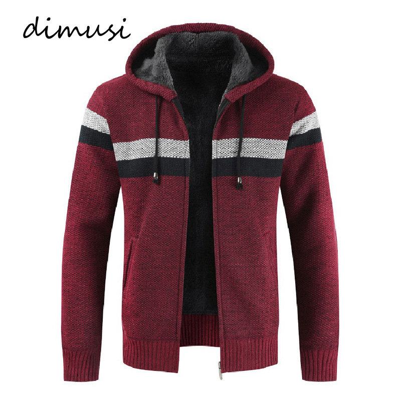 DIMUSI Winter Men's Sweater Coats Casual Mens Cardigan Sweater Jackets Men Warm Knitted Ziphoodie Knitted Jackets Clothing