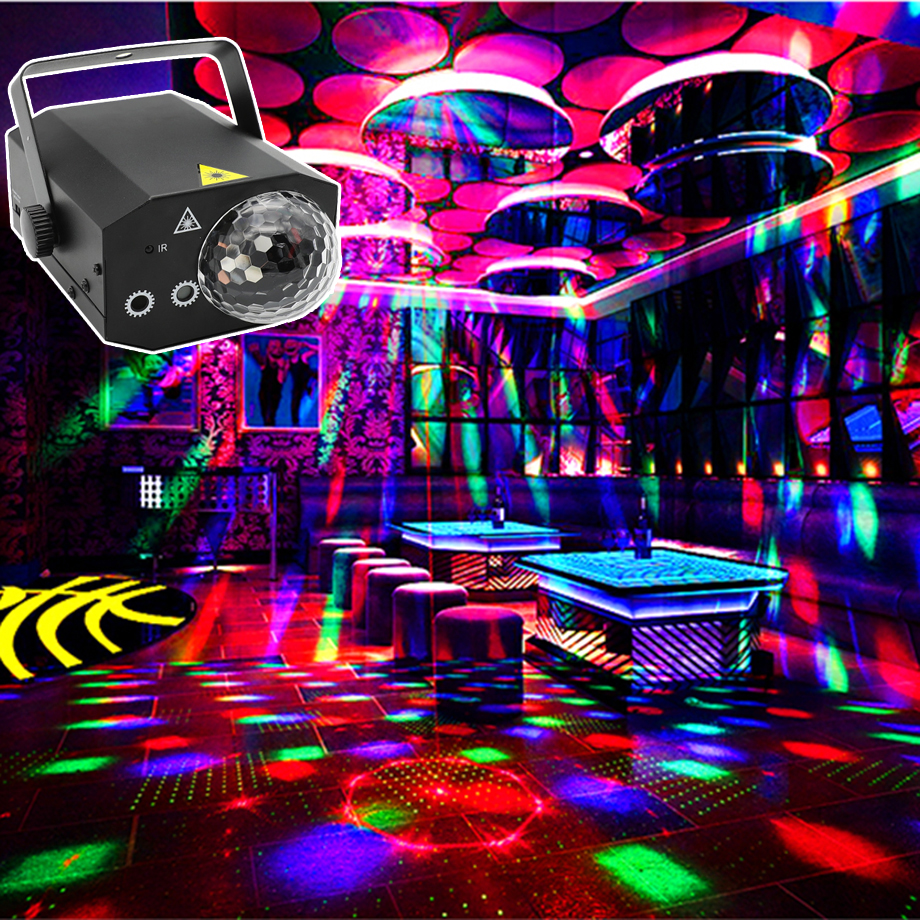 RGB Sound <font><b>Party</b></font> Disco Lights <font><b>led</b></font> Magic Ball for Home Karaoke <font><b>Bar</b></font> Stage Equipment soundlights 16Pattern Laser Show Club Projector image