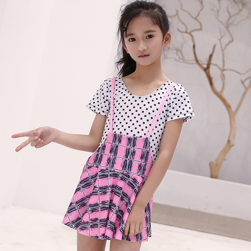 New Style KID'S Swimwear Printed Girls' Two-piece Swimsuit Suspender Strap Dress Small Middle And Large Skirt Baby-Swimwear