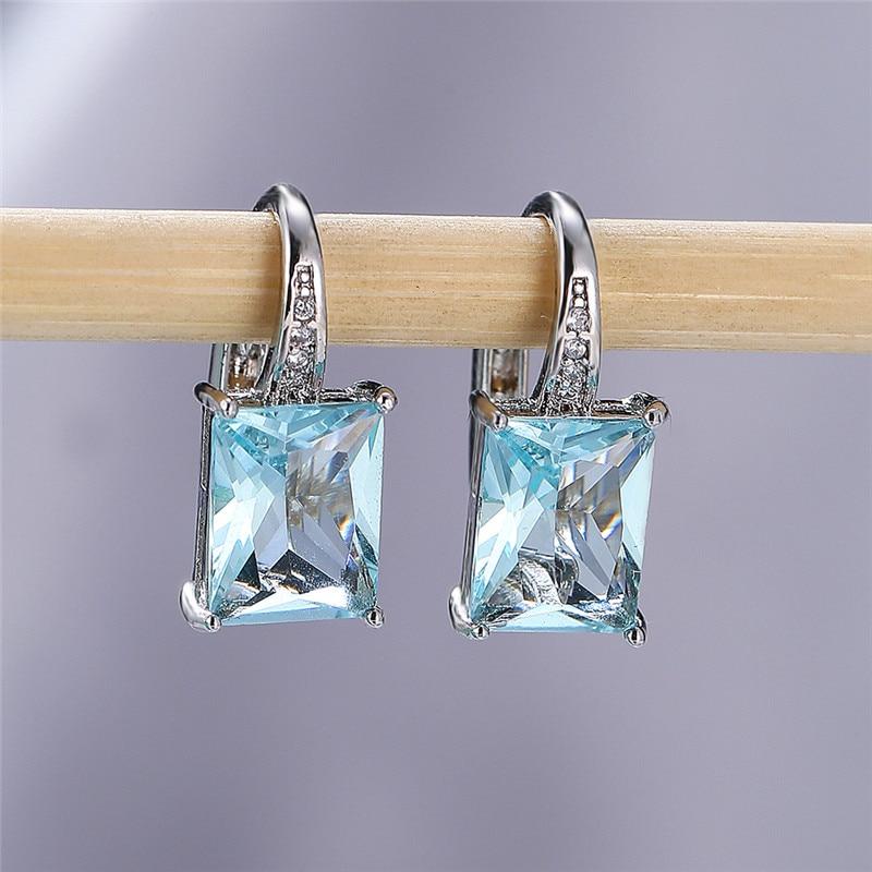 Trendy Female Blue Zirconia Stone Earrings Charm Small Clip Earrings For Women Minimalist Rainbow Square Wedding Earrings