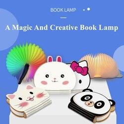 Creatieve Cartoon Vouwen Boek Licht Kleurrijke Usb Nachtlampje Draagbare Dier Panda Kitty Konijn Patronen Kids Slapen Boek Lamp