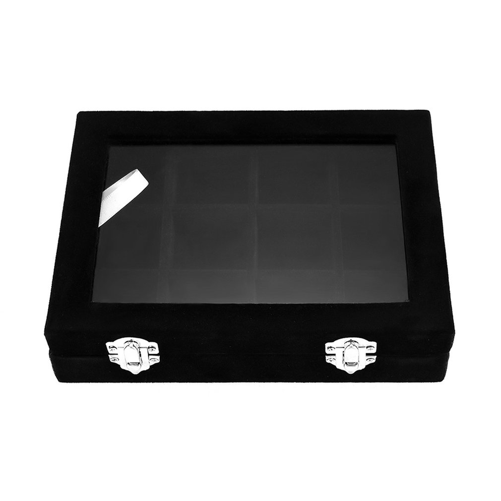 With Transparent Glass Lid 12 Grid Jewelry Tray Showcase Display Storage Box Earrings Rings Organizer