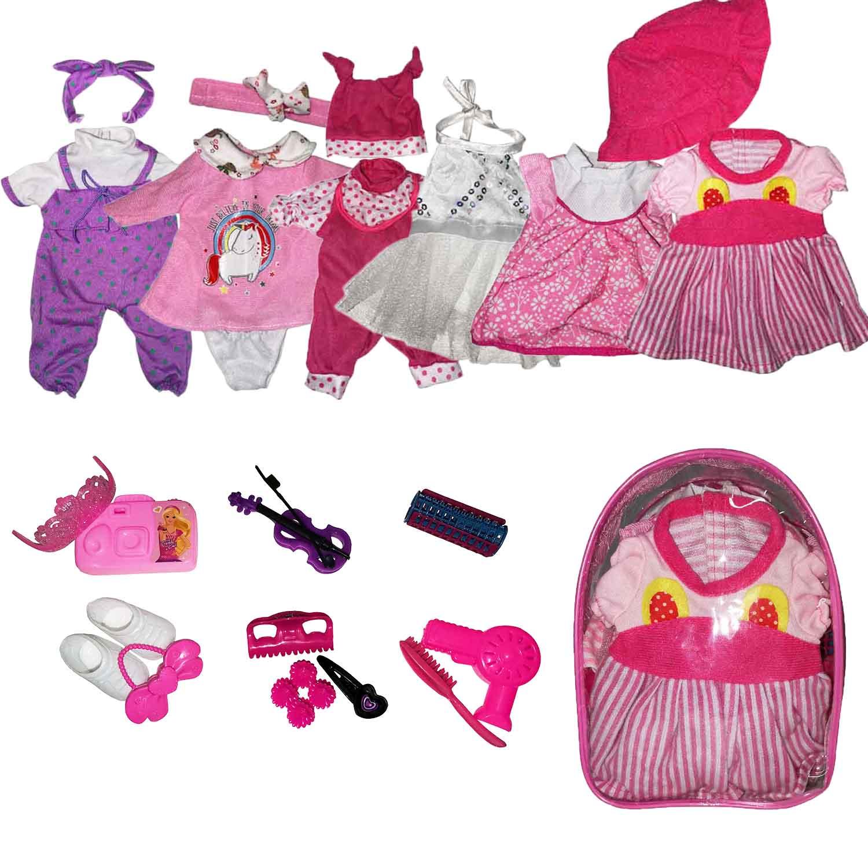 Meninas boneca roupas caber 11 Polegada 28 cm 6 pçs conjunto de acessórios da boneca bebês nascidos boneca roupas para o presente do festival de aniversário do bebê hc0062