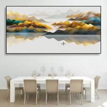 Laeacco пейзаж в китайском стиле Постер картина маслом художественный