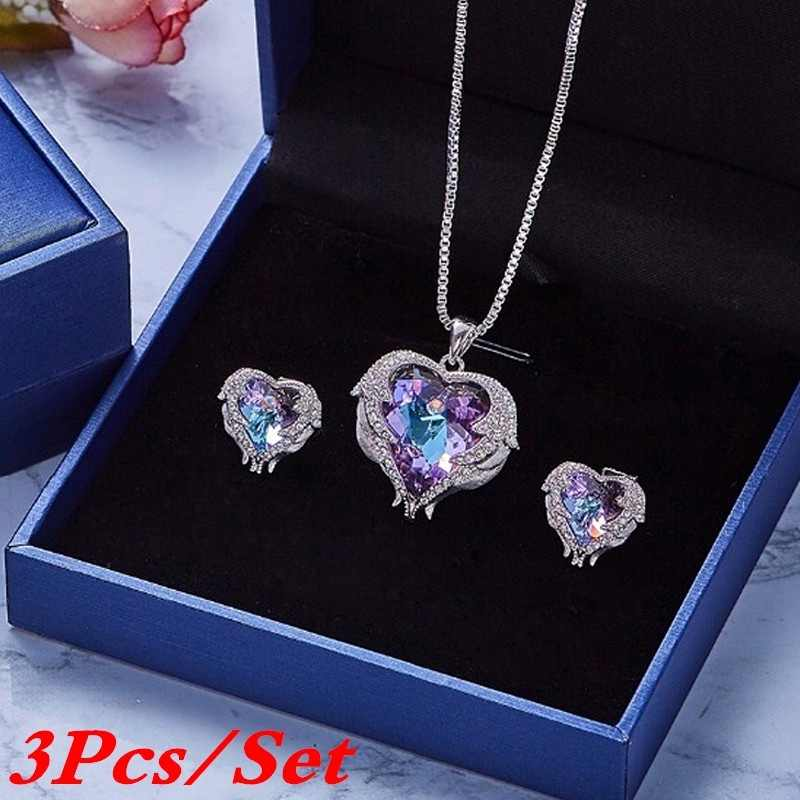 3 Pcs/set Set Kalung Liontin Kalung Anting-Anting Set Wanita Crystal Perhiasan Set Fashion Perhiasan Aksesoris