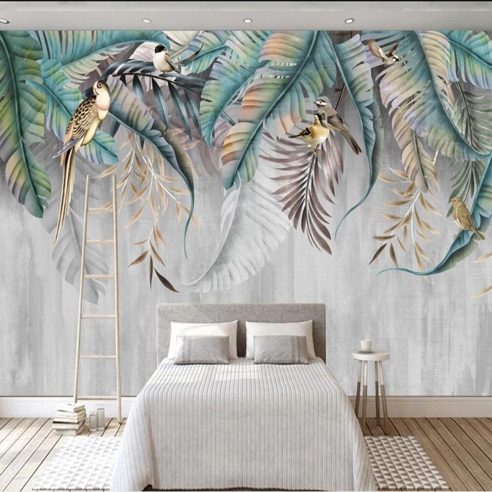 Papel tapiz 3d grande personalizado, mural de planta de estilo nórdico, hojas, flores y pájaros, decoración de fondo de pared, pintura, papel tapiz, mural