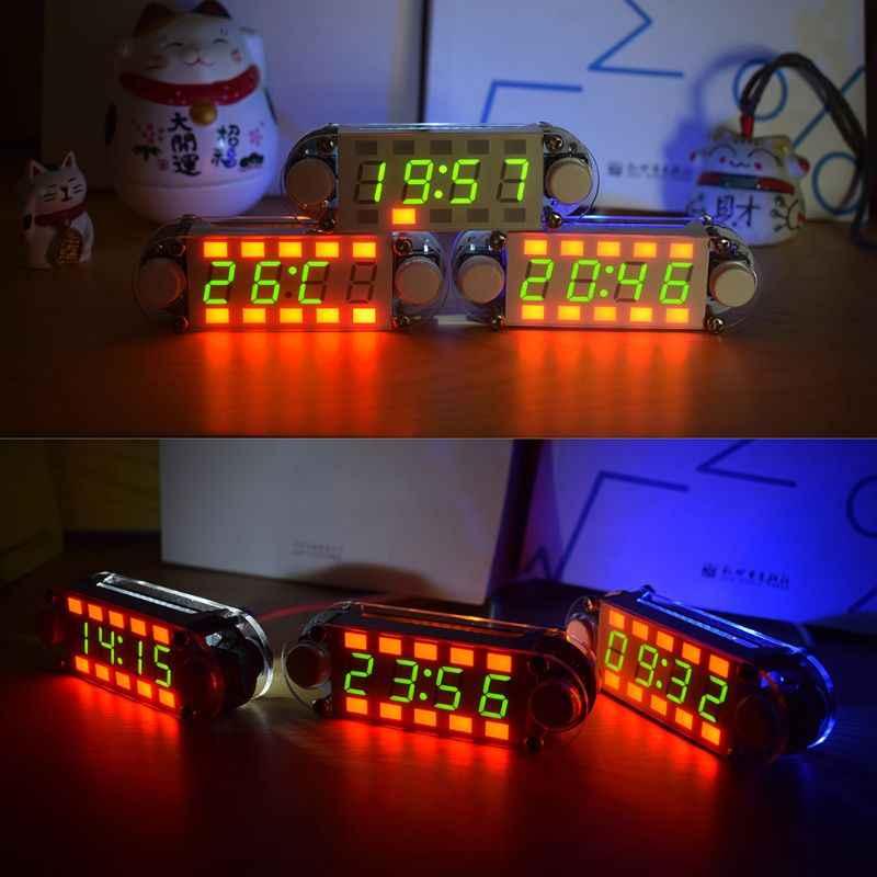 Kit de relógio despertador digital tubo diy data contagem regressiva temperatura 12/24h c/f display